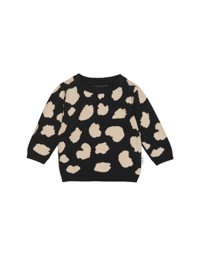 Black Animal Spot Knit Sweater