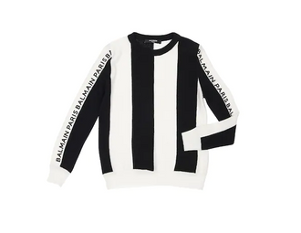 Black/White Vertical Striped Sweater with Logo Stripe