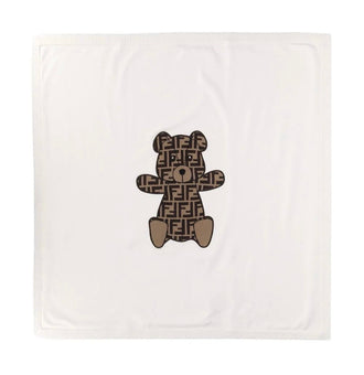 Beige Knit Blanket With Logo Teddy