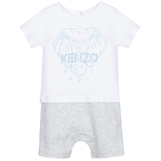 White/Grey Romper with Blue Elephant Graphic