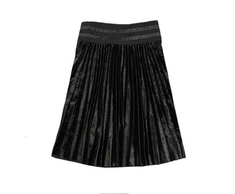 Black Crushed Velvet Knife Pleat Skirt