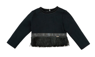 Neoprene Black Fringe Top