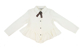 Ivory Asymetric Ruffle Shirt With Bow
