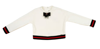 Cream Neoprene Top With Red Stripe