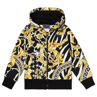 Black/Gold Baroque Hooded Sweatshirt