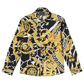 Black&Gold Baroque Print Shirt