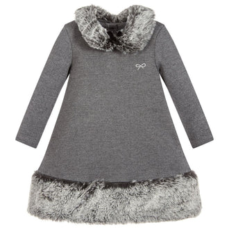 Grey Dress w/Fur Trim