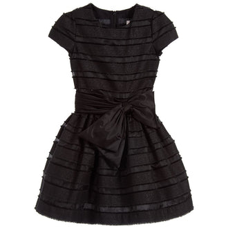LG Black Organza Stripes Party Dress
