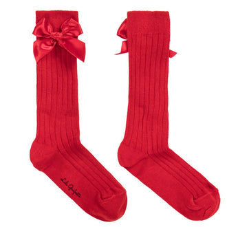 Red Ribbed Socks w/Bow