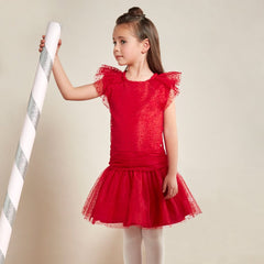 Red Dott Tulle Party Dress