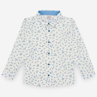 Blue Print Button Down Shirt