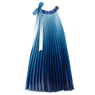 Blue Ombre Knife Pleat Dress