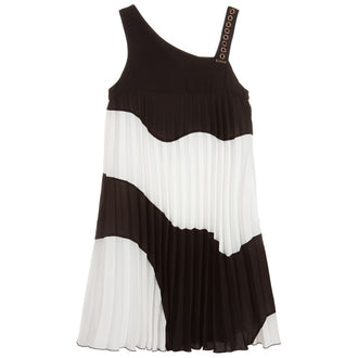 Black And White Knife Pleat Dress