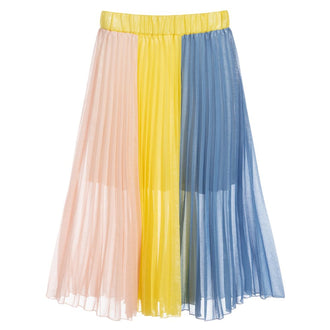 Multicolored Shimmer Knife Pleat Skirt