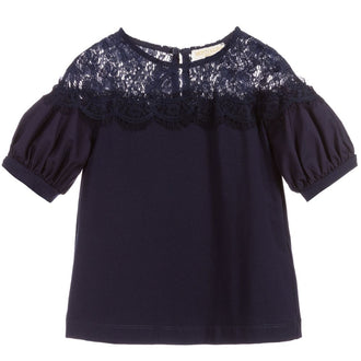Navy Taffeta Lace Top