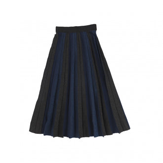 Navy & Black Accordion Pleated Midi Skirt