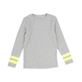 Grey Tee with Neon Stripe