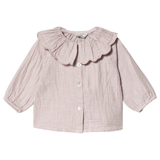 Pink Flounced Neck Blouse