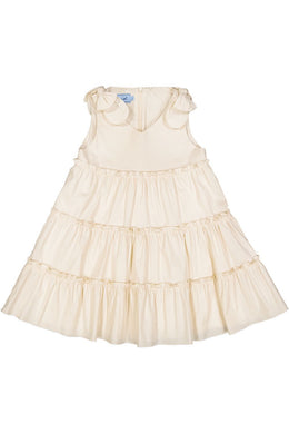 Long Lenth Beige Tiered Dress