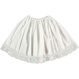 Off White Voile Skirt With Lace