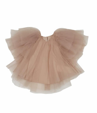 Light Pink Short Sleeve Tulle Blouse