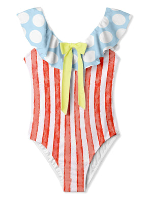 Red/White Striped Swimsuit