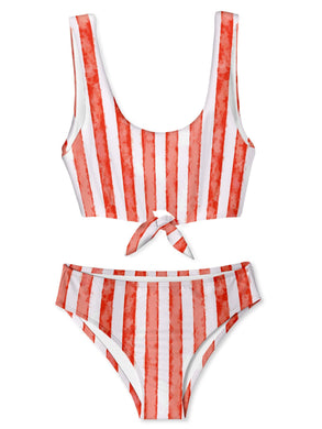 Red Stripe Bikini with Chest Tie