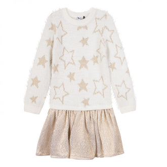 Cosmic Girl Ivory Gold Star Dress