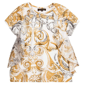Gold Print Ruffle Top