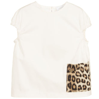 White Poplin Shirt With Leopard Pocket