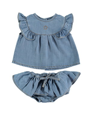 Chambray Ruffle Bloomer Set