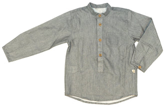 Grey Mandarin Collar Shirt