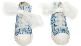 Blue Organza Pleated Hightop