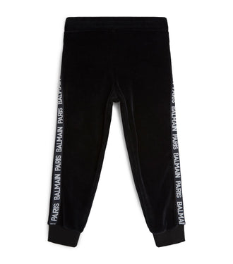 Black Logo Velour Sweatpants