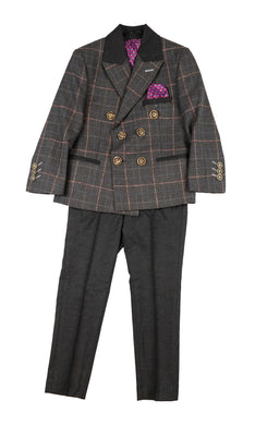 Grey Large Check Double Breasted Suit