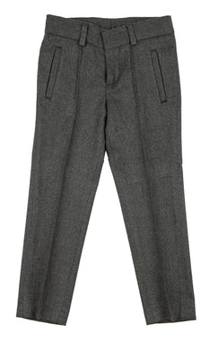 Heather Grey Pants With Front Pleats