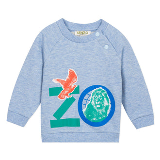 Crazy Jungle Light Blue Baby Animals Logo Sweattop