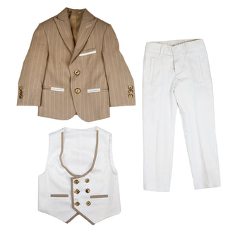 Beige Stripe 3 Piece Suit