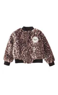 Animal Print Faux Fur Bomber