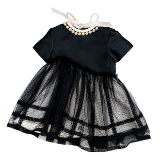 Black Tulle Overlay Party Dress