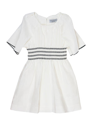 Ivory Dress With Black Stitching