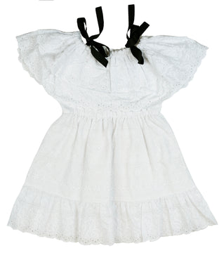Voile White Wallflower Dress With Black Bows