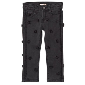 Denim Pants With Black Dots