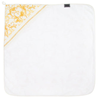 White & Gold Baroque Print Bathrobe Towel