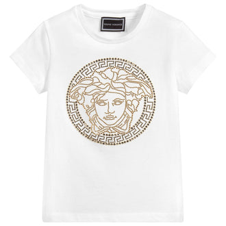 White & Gold Embellished Logo Tee