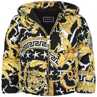 Black/Gold Baroque Print Puffer Coat
