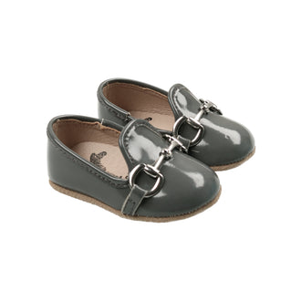 Iron Grey Patent Buckle Loafer
