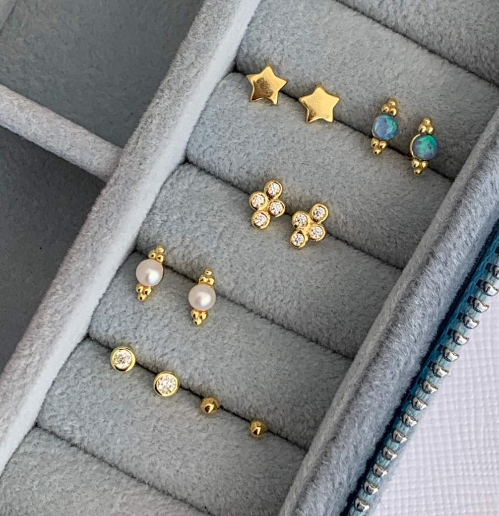 Gold Studs Earrings - Online Jewellery Shopping  - Bowerbird Jewels