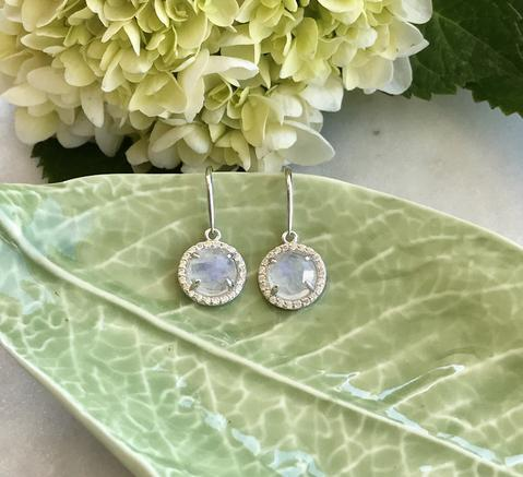 Sterling Silver and Moonstone Halo Earrings - Buy Jewellery Online - Bowerbird Jewels