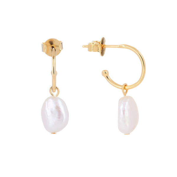 Arcane Pearl Drop Hoop Earrings